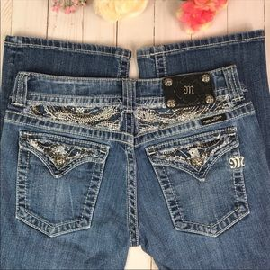 Miss Me Jeweled Flap Pocket Boot Cut Jeans 29